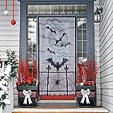 N&T NIETING 1Schwarz Fledermäuse Halloween Spitze Fenster Vorhang, Spider Web Fledermäuse Tür Vorhang Panel Decor für Spooky Halloween Urlaub Party Dekoration, 101,6x 213,4cm