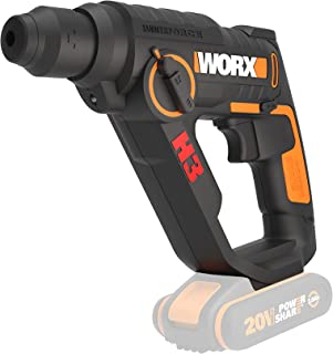WORX WX390.9 SDS-Plus Hammer Drill 20 V - Powerful Drill with Pneumatic Hammer Mechanism & Second Handle - Ideal for Screw...