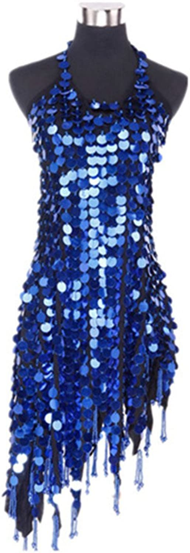 Sleeveless mesh Latin dance costume petals heart shape dress Latin dance apparel,Sapphire bluee,free size