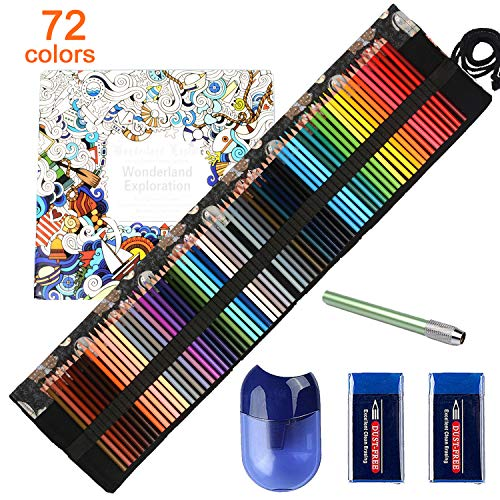ThEast-72 Colored Pencils Set, Premier Colored Pencils for Coloring Book, Artist Colored Pencil Set, Included Handmade Canvas Pencil Wrap Extra Accessories, Soft Core Oil based Colored Pencil