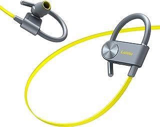 Bluetooth Headphones Loistu Wireless Headphones Hanging Neck Sports Headset Built-in Mic High-Definition Stereo Long Standby IPX4 Waterproof Wireless Bluetooth Earbuds Running Headphones (Yellow)