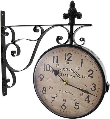 Amazon Com Nostalgic Kensington Station Clock Large Double Sided W Wall Bracket Xh02000 Home Garden Improvement Home Kitchen