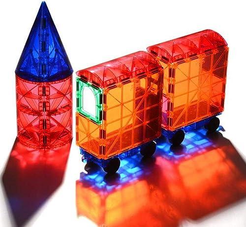 WXIAorNG Blocs de Construction magnétiques, tuiles de batiHommest magnétique 60 pièces de Construction d'empilage Kit de Forme magnétique pour Enfants, éducation créative, Enfants de Plus de 3 Ans