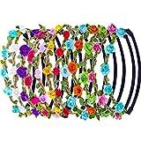 12 Piezas Multicolor Diadema de Flor de Rosa Banda de Pelo Mujeres Chicas Moda Corona Floral Diadema Guirnalda con Cinta Elástica