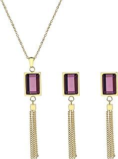 cb88c5ec206 Daesar Juegos Joyas Cuadrado Borlas Circonita Púrpura Juegos de Joyas para Mujer  Collar Pendientes Oro/