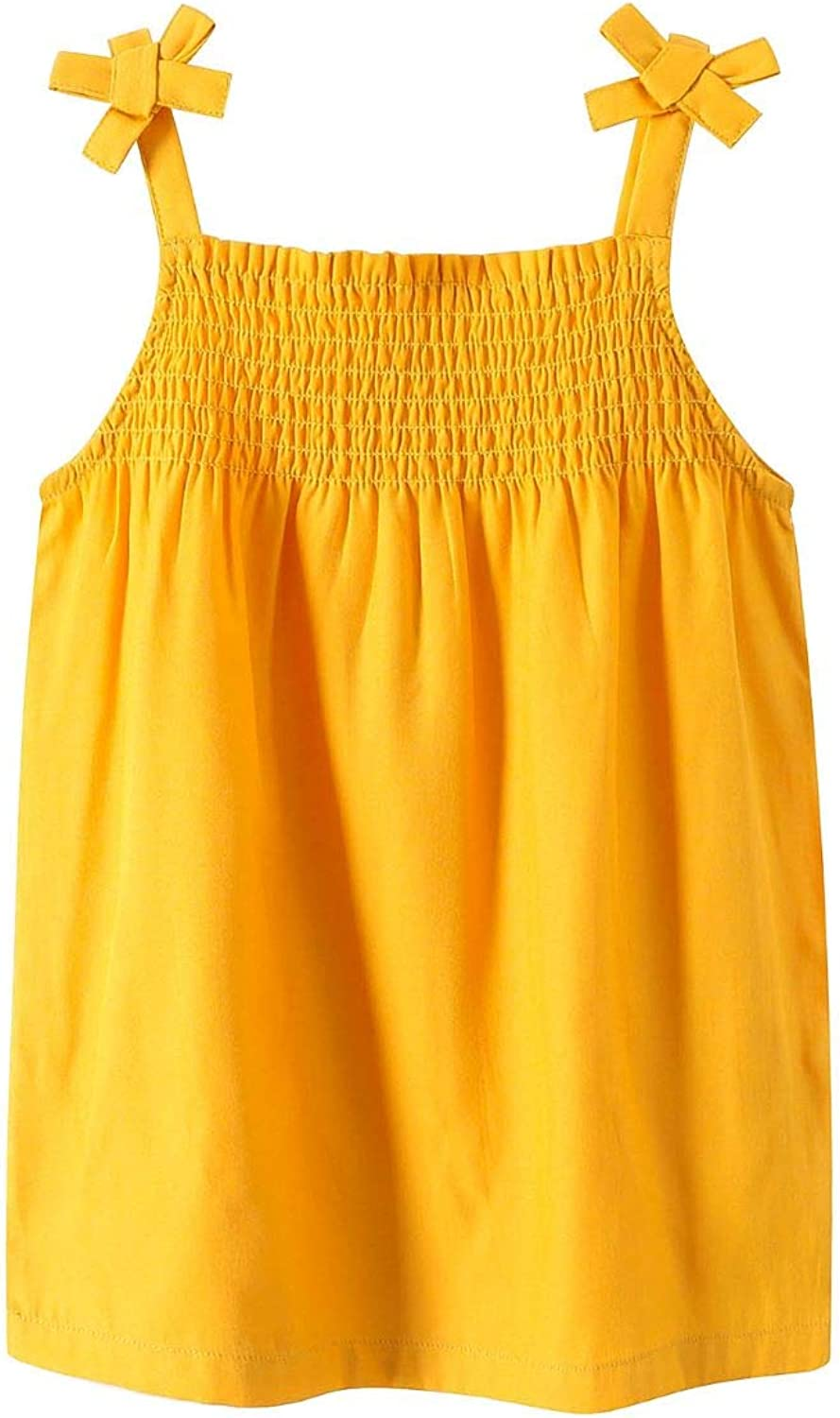 Sofinee Place Girls Casual Smocked Tank Top Strap Shoulder Viscose Camis Sleeveless Top Blouse 3 Years to 12 Years