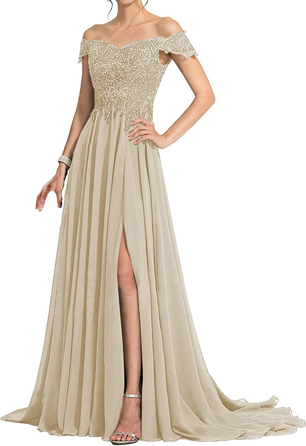 Mother of The Bride Dresses Off Shoulder Evening Dress Long Chiffon Prom Dress Lace Formal Evening Gowns with Split