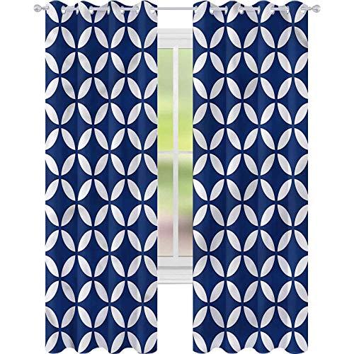 Cortina para ventana de color azul marino con figuras ovaladas de 52 x 63 cm de ancho para sala de estar