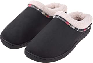 Men's Memory Foam Slippers Wool Fleece Slip on Mules Clogs House Shoes Indoor Outdoor Anti-Skid Rubber Sole
