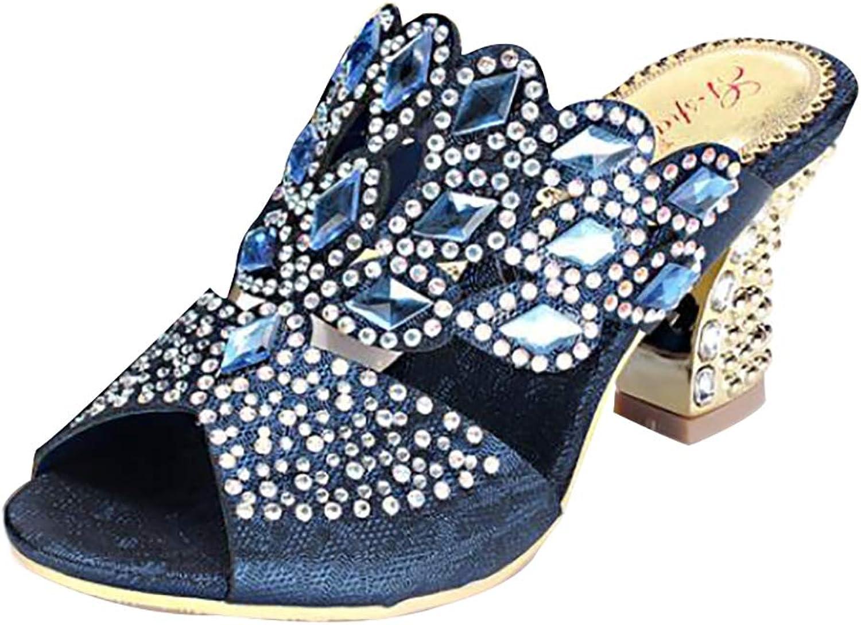 Women's Diamante Elegant Bohemian Hollow Rhinestone Sandals Summer Beach Vacation Stylish Square Heel shoes Flip Flops
