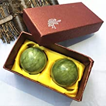 YIEASDA Green Jade Ball, 2 Pack Chinese Health Stress Exercise Release Balls Massage Natural Stone
