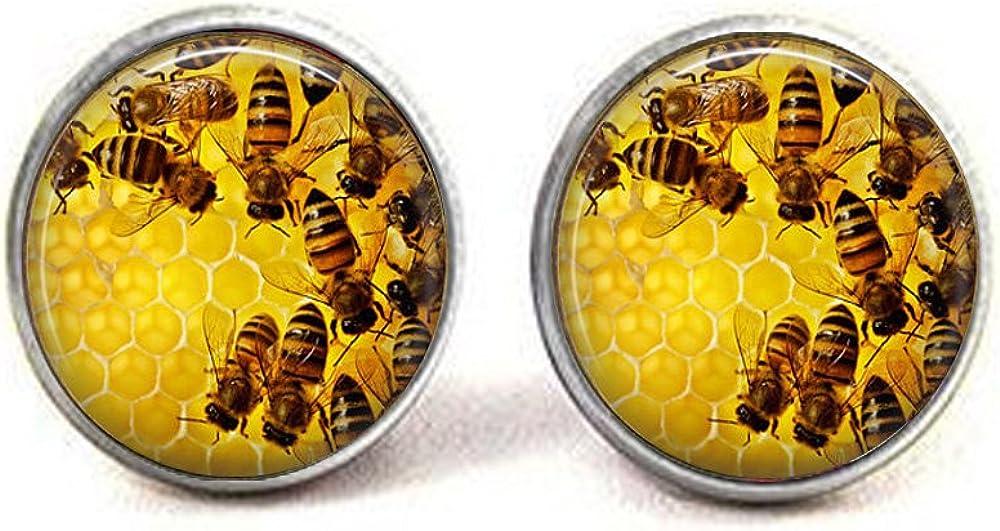lukuhan Honeycomb and Bees Jewelry - Honey Bee - Insect Jewelry - Honeycomb Pendant - Beehive - Honey Pendant - Honeycomb Earrings
