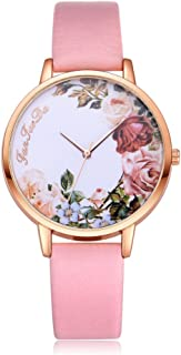 Womens Quartz Wrist Watches,Hengshikeji Unique Numeral Analog Clearance Lady Wrist Watch Female Watches on Sale Watches for Women,Flower Pattern of Dail Fashion Leather Band Circle Watch