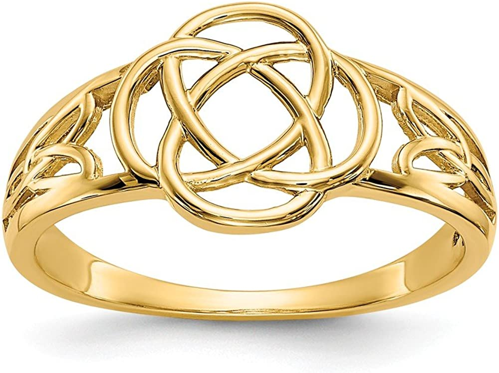 14k Yellow Gold Ladies Irish Claddagh Celtic Size Knot Manufacturer regenerated product Ring wholesale Band