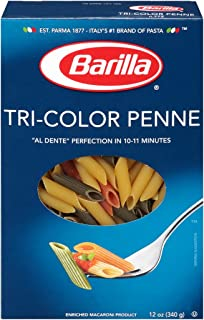 Barilla Tri-Color Pasta, Penne, 12 Ounce (Pack of 16)