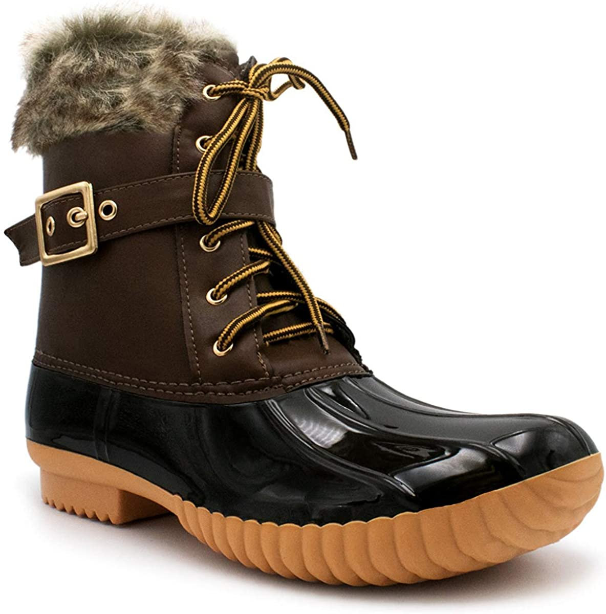 Nature Breeze Duck-01 Women's Chic Lace Up Buckled Duck Waterproof Snow Boots, TPS Duck-01 Brown Size 7.5