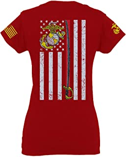 US Marine Corps Support Thin line American Flag USMC for Women V Neck Fitted T Shirt