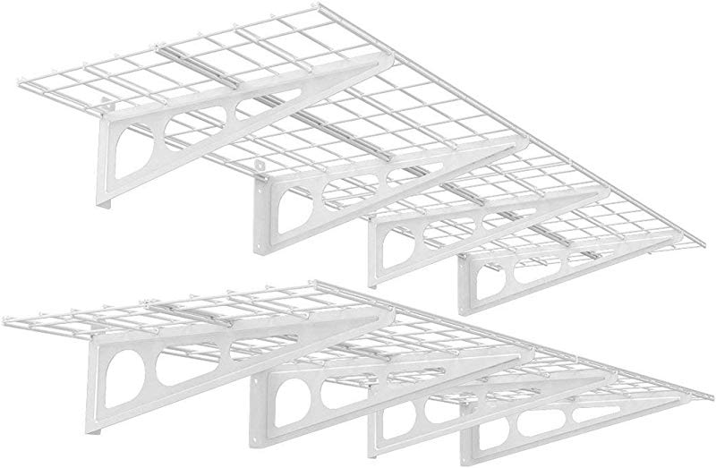FLEXIMOUNTS 2 Pack 2x6ft 24 Inch By 72 Inch Wall Shelf Garage Storage Rack Floating Shelves White