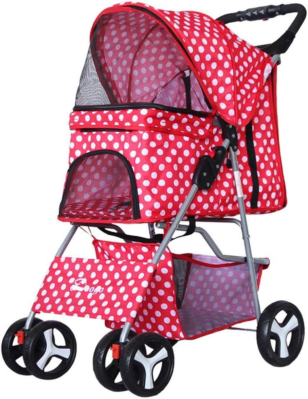 EDYUCGA Pet Stroller Dog Cat Teddy Cart with Four Wheel Lightweight Foldable Pet Travel Cart 67  47  100cm (LWH) (color   Red dot)