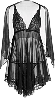 Alion Women Sexy Lingerie Robe Lace Nightwear Babydoll 3 Piece Sets 2 OS …