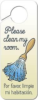 Graphics and More Please Clean My Room Feather Duster Spanish Por favor limpie mi habitacion Plastic Door Knob Hanger Sign