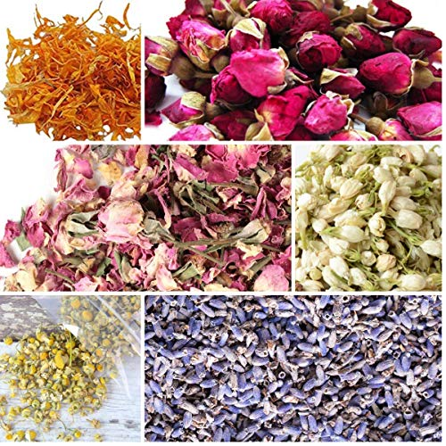 bMAKER Bulk Botanical Flowers Kit, 6 Pack - Edible, Kosher Certified - 1.5 Cups Each of Jasmine, Rosebuds, Lavender, Marigold, Chamomile, Pink Rose Petals, 2 ml of Rose Absolute Essential Oil