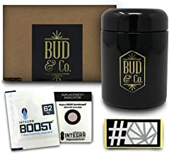 Buddy Dry Herb Half Oz Container Jar w/Humidity Preservation Pack (250 mL) Smell Proof, Airtight Lid   Heavy-Duty, UV-Resistant Glass   Keeps Coffee Grounds, Tea Leaves, Spices Fresh