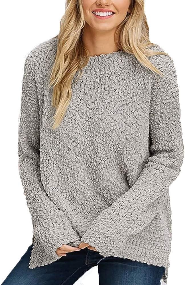 OHDREAM Womens Sherpa Pullover Plus Size Fuzzy Sweaters Fleece Popcorn Sweatshirts Long Sleeve Tops
