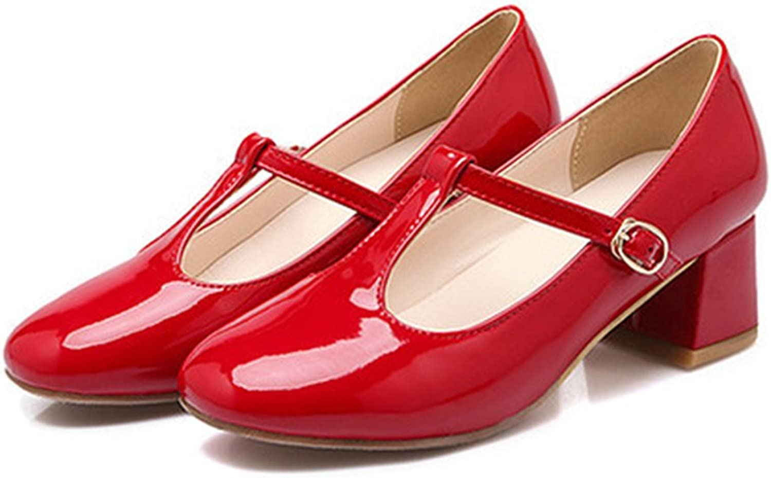Round Last Work Thin shoes red 36
