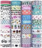 Set di 40 rotoli di nastro adesivo Washi per lavori di artigianato, abbellire diari proiettili, pianificatori