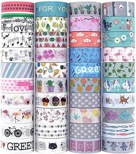 Washi - Juego de 40 rollos de cinta adhesiva decorativa para manualidades, embellecer...