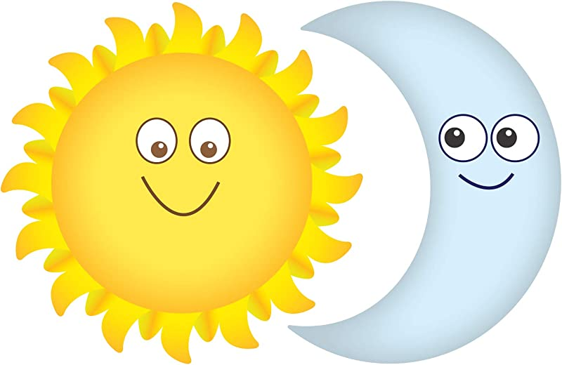 Sun And Moon Smiling Wall Decals Graphic Peel And Stick Removable 2 Feet Tall 24 Inch Made In USA Baby Nursery Sticker