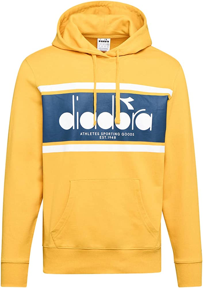 Diadora, felpa hoodie spectra per uomo,100% cotone 502173625