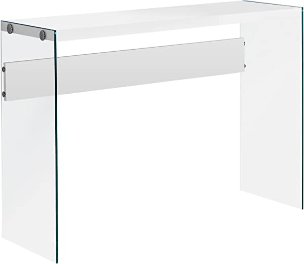Monarch Specialties I 3288 Console Sofa Table Tempered Glass Glossy White 44 L