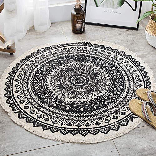 MISLD kwastjes gebied tapijt ronde tapijten katoen handgeweven voor bank woonkamer slaapkamer décor vloer mat 92cm / 32''