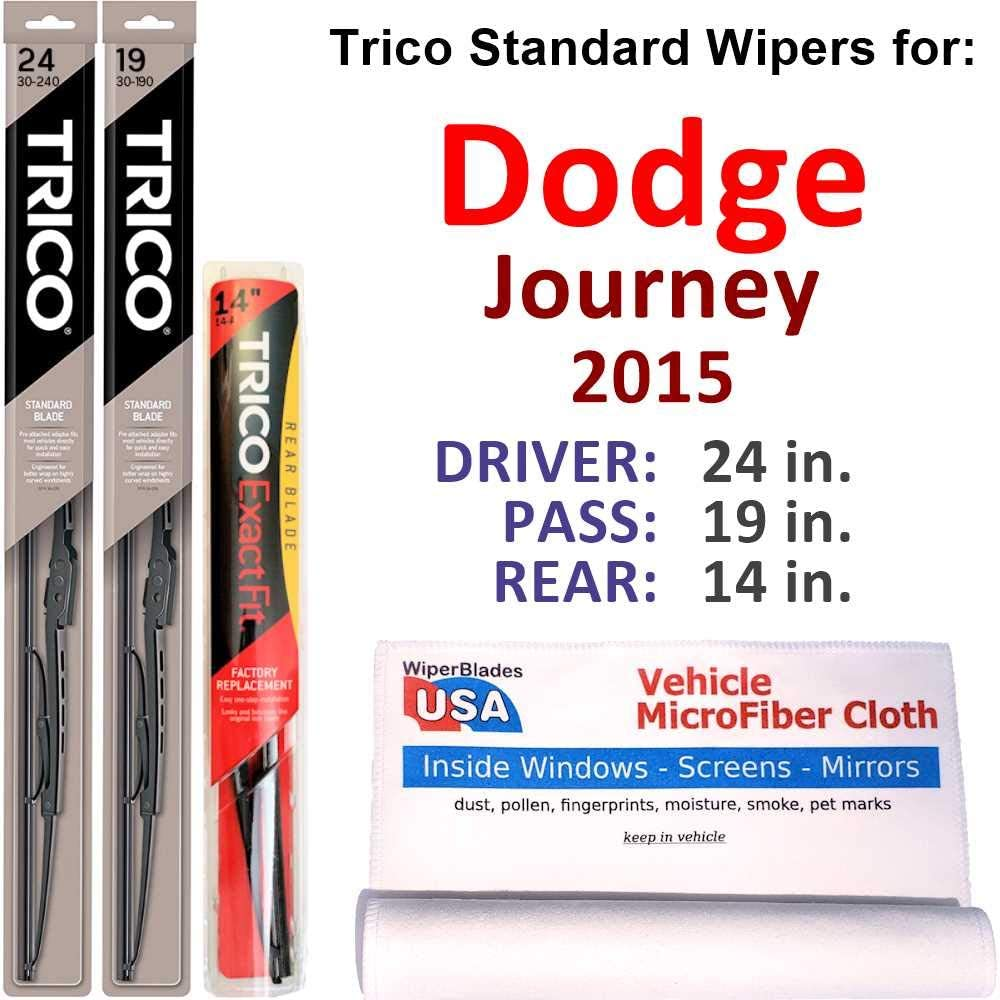 Wipers for 2015 Dodge Journey Steel Trico Soldering Set w In a popularity Rear