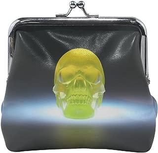 Rh Studio Coin Purse Women Skull 3d Model Yellow Print Wallet Exquisite Clasp Coin Purse Girls Clutch Handbag