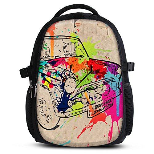 Rucksack für Jungen Mädchen Damen Herren - Schulrucksack Schulranzen Ranzen für die Schule - Backpack für Stadt/Sport für Kinder & Jugendliche - Cooles Design/aus Canvas Stoff - Colored car