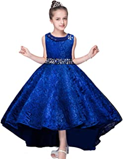 Girls Wedding Pageant Dress Hi-Low Lace Bridesmaid Flower Girl Dresses
