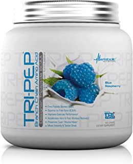 Metabolic Nutrition, TRIPEP,  Tri-Peptide Branch Chain Amino Acid, BCAA Powder, Pre Intra Post Workout Supplement, Blue Raspberry, 400 grams (40 servings)