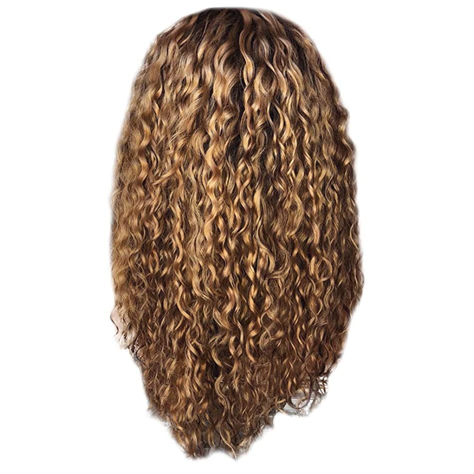 A Wigs Afro,Human Hair Curly Wigs Bangs Sexy Women Fashion Afro Long Kinky Curly Hair Wavy Wigs Lace Front Party Wig (Brown)