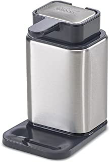 Joseph Joseph 85135 Surface Soap Dispenser Stainless Steel Soap Pump and Soap Bar Odor Removal for Kitchen Sink, Silver