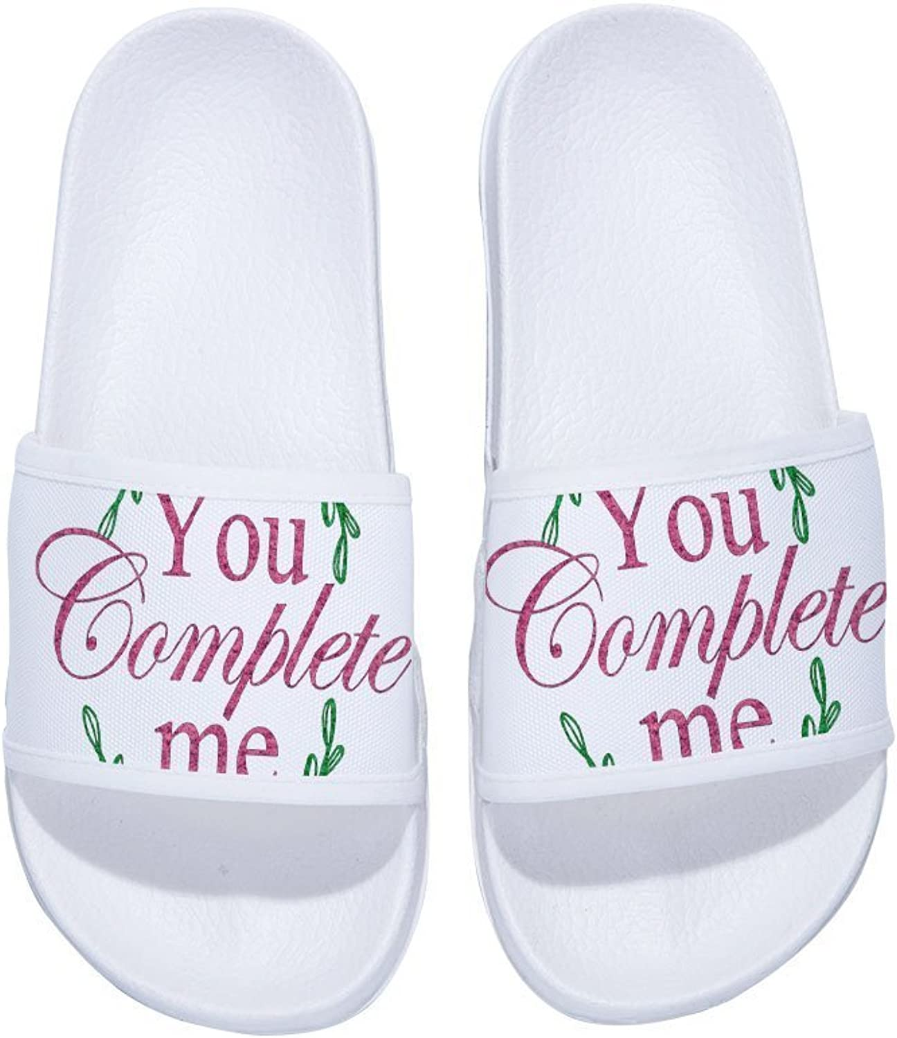You Complete Me Cute Quote Slippers Non-Slip Quick-Drying Slippers for Women Kids Men Kids