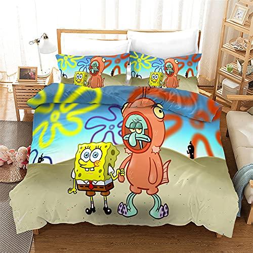 AZJMPKS Spongebob - Juego de ropa de cama infantil, diseño de Bob Esponja anime, funda de edredón, funda de almohada, individual, microfibra, adecuado para niños (A21, 135 x 200 cm + 75 x 50 cm x 1)