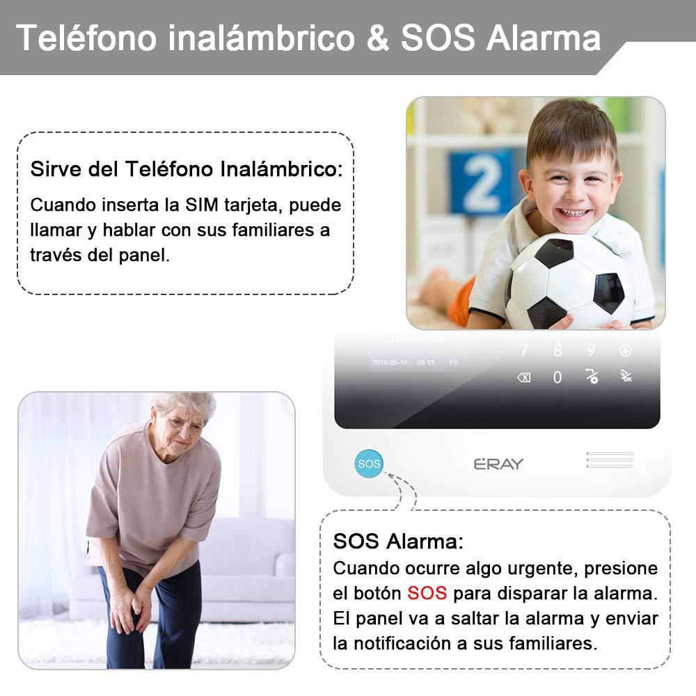 gsm// 3G Garant/ía Antirrobo Alarmas para Casa ERAY WM3FX Sistema de Alarma WiFi Voz y LCD Pantalla en Castellano Servicio App Gratuita Inal/ámbrico 433MHz Multi-Accesorios y Pilas Incluidas