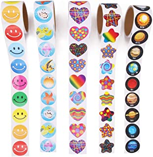 Unigift 5 Rolls Reward Stickers Kit-Round Solar System Planet, Round Smiley Faces,Colorful Stars,Heart,Tropical Fish Desig...