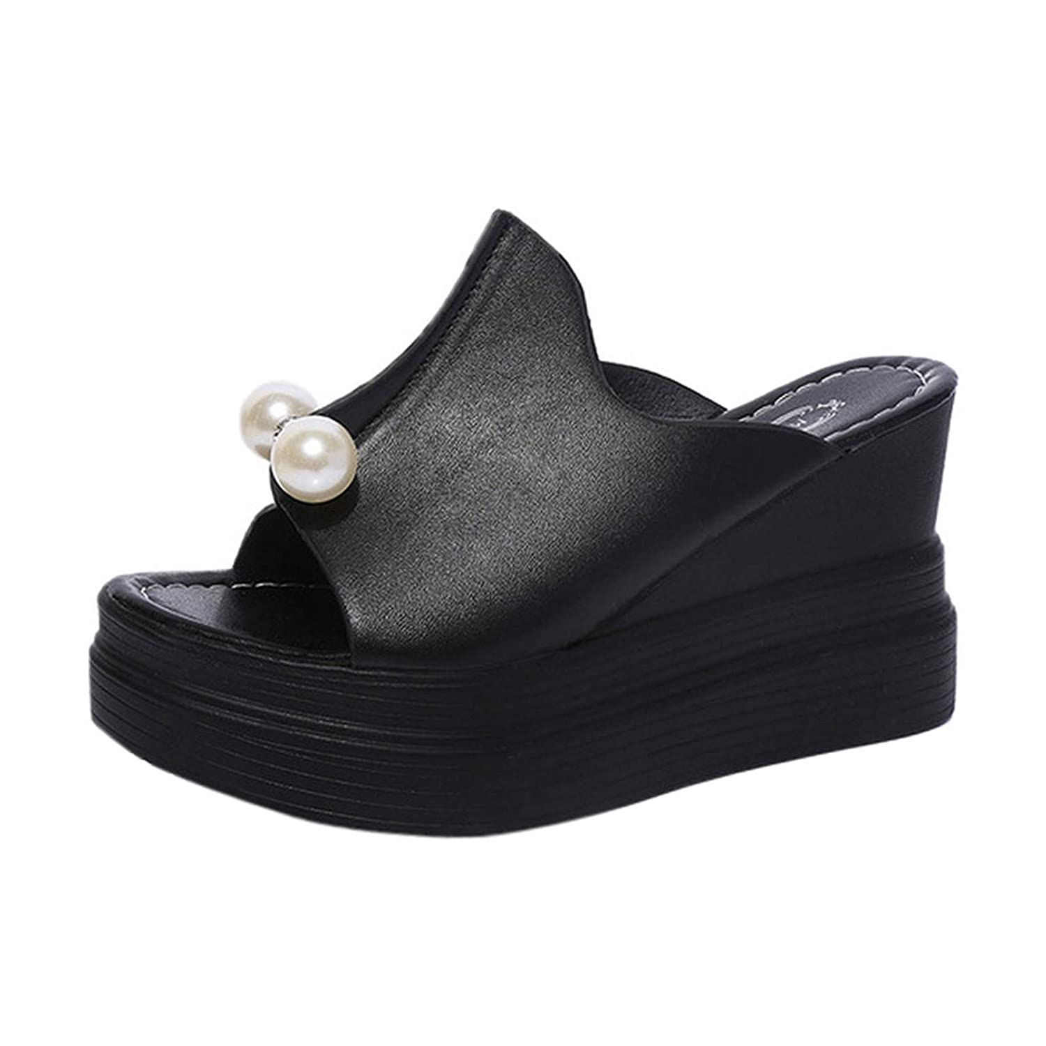 Women's Ladies Slippers Rapid rise Thick-Bottom Solid Pearl specialty shop Wedg Waterproof