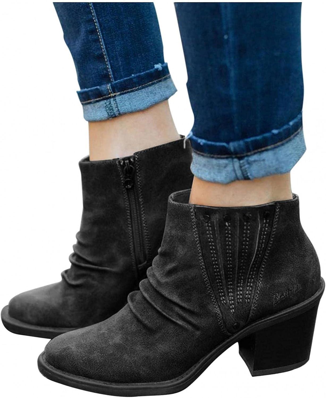 Zieglen Boots for Women Fringe Zip Up Ankle Boots Mid Heel Booties Hiking Boots Winter Women Booties Walking Shoes for Women
