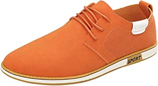 shangruiqi Men's Business Oxford Casual Breathable Round Toe British Style Formal Shoes Abrasion Resistant (Color : Orange, Size : 8 UK)