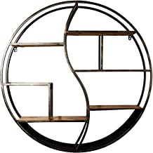 Round Iron Bookshelf Wall Living Room Bedroom For Storage Display Stand Floating Decorative Unit Frame Retro Loft Industri...